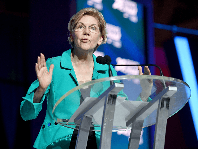 Senator Elizabeth Warren speaks on stage at 2019 ESSENCE Festival Presented By Coca-Cola at Ernest N. Morial Convention Center on July 06, 2019 in New Orleans, Louisiana. (Photo by Paras Griffin/Getty Images for ESSENCE)