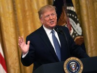 "WASHINGTON, DC - JULY 08: U.S. President Donald Trump speaks during an East Room event on the environment July 7, 2019 at the White House in Washington, DC. President Trump delivered remarks on ""his Administration's environmental accomplishments of cleaner air and cleaner water, including helping communities across the Nation reduce …"