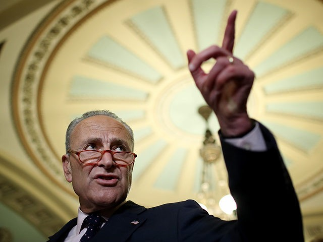 WASHINGTON, DC - JULY 09: Senate Minority Leader Chuck Schumer (D-NY) answers questions at the U.S. Capitol on July 09, 2019 in Washington, DC. Schumer answered a range of questions during the press conference including queries on recent court cases involving the Affordable Care Act. (Photo by Win McNamee/Getty Images)