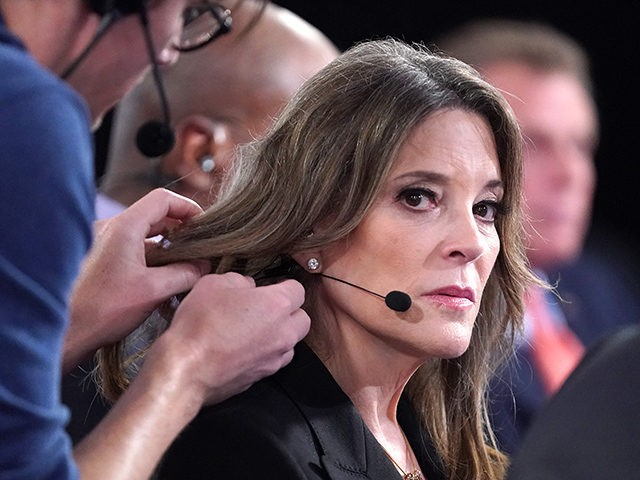 DETROIT, MICHIGAN - JULY 30: Democratic presidential candidate Marianne Williamson prepares for a television interview after the Democratic Presidential Debate at the Fox Theatre July 30, 2019 in Detroit, Michigan. 20 Democratic presidential candidates were split into two groups of 10 to take part in the debate sponsored by CNN …