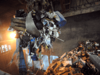 Garbage is carried to be incinerated at the Energy Recovery Unit (UVE) of the garbage incineration plant in Le Mans, western France, on April 11, 2013. The heat recovered is used to create electricity and heating for buildings in the city of Allonnes. AFP PHOTO / JEAN FRANCOIS MONIER (Photo …