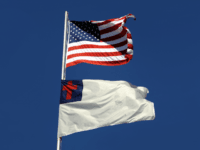 American flag and Christian flag