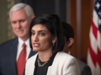Seema Verma speaks after being sworn in as Administrator of the Centers for Medicare and Medicaid Services by US Vice President Mike Pence in Washington, DC, on March 14, 2017. / AFP PHOTO / NICHOLAS KAMM (Photo credit should read NICHOLAS KAMM/AFP/Getty Images)