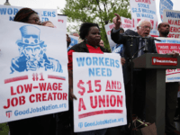 U.S. Sen. Bernie Sanders (I-VT) speaks during a rally in front of the Capitol April 26, 2017 in Washington, DC. Activists and low-wage workers gathered on Capitol Hill to rally for a $15 minimum and rights to form unions. (Photo by Alex Wong/Getty Images)
