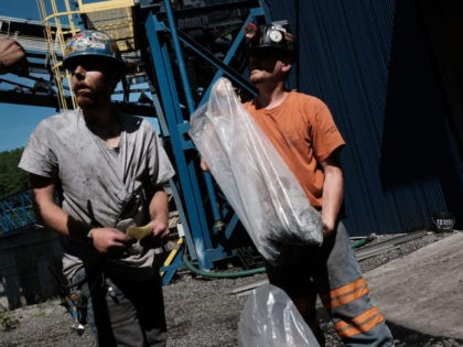 WELCH, WV - MAY 19: Men take coal samples at a coal prep plant on May 19, 2017 outside the city of Welch, West Virginia. West Virginia, a state where President Donald Trump won in a landslide by defeating Hillary Clinton 67.9 percent to 26.2 percent, is also one of …