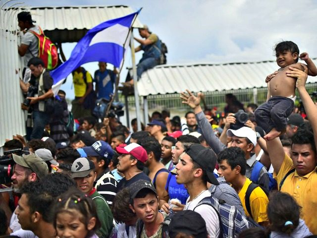Honduran migrants climb the gate of the Guatemala-Mexico international border bridge. Photo: Pedro Pardo / AFP via Getty Images