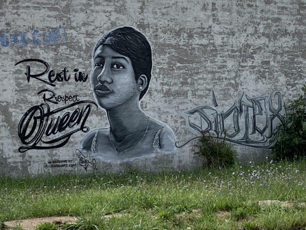 Aretha Franklin mural on abandoned building, LaSalle Gardens, Detroit (Joel Pollak / Breitbart News)