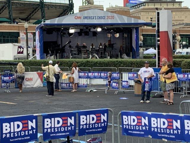 Empty stands before Democrat debate (Joel Pollak / Breitbart News)