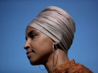 WASHINGTON, DC - JULY 25: Rep. Ilhan Omar (D-MN) speaks at a press conference outside the U.S. Capitol July 25, 2019 in Washington, DC. Omar introduced the ZERO WASTE Act, which would create a federal grant program to help local governments invest in waste reduction initiatives. (Photo by Win McNamee/Getty …