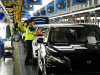 "SOLIHULL, ENGLAND - MARCH 06: Vehicles are checked before moving to the next stage of production at the Jaguar Land Rover factory on March 1, 2017 in Solihull, England. The company has pledged it's 'heart and soul' to production in the UK after producing the new ""Velar"" model for global …"