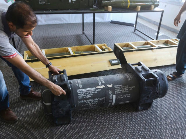 In this Saturday, June 29, 2019 photo, U.S.-made Javelin anti-tank missiles are displayed in Tripoli, Libya, after being captured from the self-styled Libyan National Army (LNA). France's Defense Ministry acknowledged that U.S.-made missiles captured from the LNA belonged to the French military. A statement Wednesday, July 10, 2019, said the …
