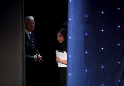 DETROIT, MICHIGAN - JULY 31: Democratic presidential candidates former Vice President Joe Biden waits to take the stage at the Democratic Presidential Debate at the Fox Theatre July 31, 2019 in Detroit, Michigan. 20 Democratic presidential candidates were split into two groups of 10 to take part in the debate …