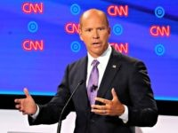 Former Maryland Rep. John Delaney participates in the first of two Democratic presidential primary debates hosted by CNN Tuesday, July 30, 2019, in the Fox Theatre in Detroit. (AP Photo/Paul Sancyat