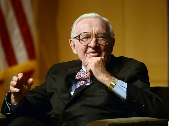 Retired Supreme Court Justice John Paul Stevens answers a question posed by Brooke Gladstone (not shown), Host and Managing Editor of National Public Radio newsmagazine at the National Constitution Center April 28 2014 in Philadelphia, Pennsylvania. Stevens discussed his new book, Six Amendments: How and Why We Should Change the …