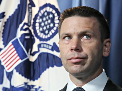 WASHINGTON, DC - JUNE 28: Acting Secretary of Homeland Security Kevin McAleenan listens to a question during a news conference at the Immigration and Customs Headquarters, on June 28, 2019 in Washington, DC. McAleenan spoke about the supplemental funding request for DHS and the Department of Health and Human Services …