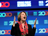 Democratic presidential candidate Sen. Amy Klobuchar, D-Minn., speaks during the National Education Association Strong Public Schools Presidential Forum Friday, July 5, 2019, in Houston. (AP Photo/David J. Phillip)