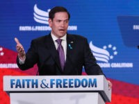 Sen. Marco Rubio (R-FL) addresses the Faith and Freedom Coalition's Road to Majority Policy Conference at the Marriott Wardman Park Hotel June 27, 2019 in Washington, DC. Created as a bridge between conservative Tea Party movement and evangelical voters, the Faith and Freedom Coalition was founded by Christian conservative activist …