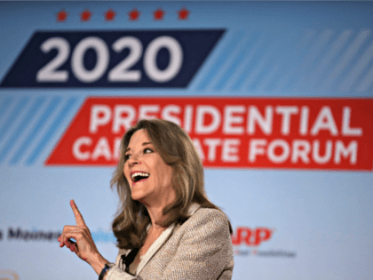 SIOUX CITY, IOWA - JULY 19: Democratic presidential hopeful self-help author Marianne Williamson speaks during the AARP and The Des Moines Register Iowa Presidential Candidate Forum on July 19, 2019 in Sioux City, Iowa. Twenty democratic presidential hopefuls are participating in the AARP and Des Moines Register candidate forums that …