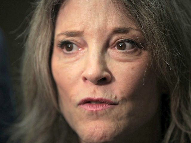 CHICAGO, ILLINOIS - JULY 01: Democratic presidential candidate and self-help author Marianne Williamson speaks to the press after addressing guests at the Rainbow PUSH Coalition Annual International Convention on July 1, 2019 in Chicago, Illinois. Williamson is 1 of 25 candidates seeking the Democratic nomination for president and the opportunity …
