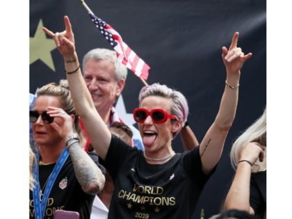 NEW YORK, NEW YORK - JULY 10: Megan Rapinoe celebrates during the U.S. Women's National Soccer Team Victory Parade and City Hall Ceremony on July 10, 2019 in New York City. (Photo by Al Bello/Getty Images)