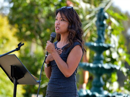 MALIBU, CA - NOVEMBER 04: Columnist Michelle Malkin speaks at the International Innovators Forum at the Fight for Social Justice and Human Rights on November 4, 2018 in Malibu, California. (Photo by Charley Gallay/Getty Images for International Innovators of Justice/American Justice Alliance)