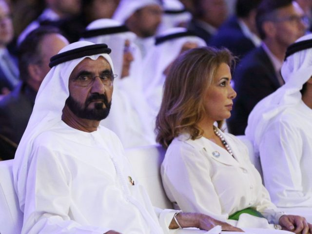 UAE Prime Minister and Dubai Ruler Sheikh Mohammed bin Rashid al-Maktoum,(2nd from L) sits next to his wife Princess Haya bint al-Hussein (C-R), United Nations Secretary-General Ban Ki-moon(L) and Dubai Crown Prince Sheikh Hamdan bin Mohammed bin Rashed al-Maktoum (R)during the presentation of a UN report on funding for humanitarian …