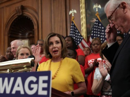 WASHINGTON, DC - JULY 18: U.S. Speaker of the House Rep. Nancy Pelosi (D-CA) speaks as House Majority Leader Rep. Steny Hoyer (D-MD) looks on during a news conference prior to a vote on the Raise the Wage Act July 18, 2019 at the U.S. Capitol in Washington, DC. The …