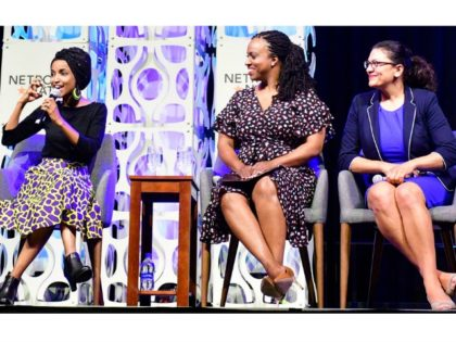 Netroots Nation Reps. Ilhan Omar (L), Ayanna Pressley (C) and Rashida Tlaib. Photo- Bastiaan SlabbersNurPhoto via Getty Images
