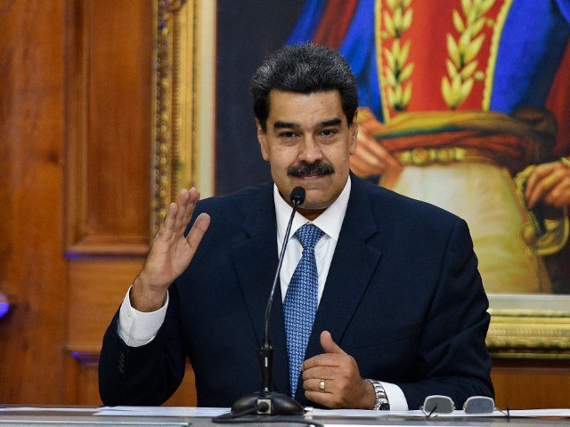 CARACAS, VENEZUELA - JUNE 27: Venezuela's President Nicolas Maduro gestures as he speaks during the Simon Bolivar Journalism National Award ceremony at Palacio de Miraflores on June 27, 2019 in Caracas, Venezuela. (Photo by Matias Delacroix/Getty Images)