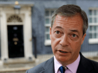 Brexit Party leader Nigel Farage talks to members of the media after delivering a letter addressed to Britain's Prime Minister Theresa May, outside 10 Downing Street in central London on June 7, 2019. - Anti-EU populist Nigel Farage's new Brexit Party failed in its bid to win its first seat …
