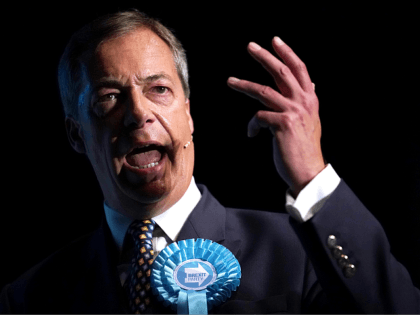 PETERBOROUGH, ENGLAND - JUNE 01: Leader of the Brexit Party Nigel Farage addresses supporters during a rally at The Broadway Theatre on June 01, 2019 in Peterborough, England. Mike Greene is the first Brexit Party member to take part in a UK parliamentary by-election. The Peterborough by-election takes place on …