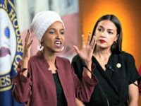 "U.S. Rep. Ilhan Omar, D-Minn., left, joined at right by U.S. Rep. Alexandria Ocasio-Cortez, D-N.Y., responds to base remarks by President Donald Trump after he called for four Democratic congresswomen of color to go back to their ""broken"" countries, as he exploited the nation's glaring racial divisions once again for …"