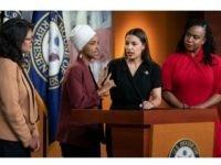 "From left, Rep. Rashida Tlaib, D-Mich., Rep. Ilhan Omar, D-Minn., Rep. Alexandria Ocasio-Cortez, D-N.Y., and Rep. Ayanna Pressley, D-Mass., respond to remarks by President Donald Trump after his call for the four Democratic congresswomen to go back to their ""broken"" countries, during a news conference at the Capitol in Washington, …"