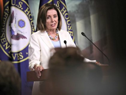 WASHINGTON, DC - JULY 17: Speaker of the House Nancy Pelosi (D-CA) answers questions during a press conference at the U.S. Capitol on July 17, 2019 in Washington, DC. Pelosi answered a range of questions including on the articles of impeachment raised by Rep. Al Green (D-TX) and the recent …