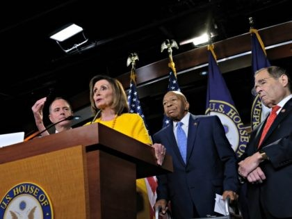 WASHINGTON, DC - JULY 24: House Speaker Nancy Pelosi speaks alongside Intelligence Committee Chair Adam Schiff, Committee Chairman Rep. Elijah Cummings (D-MD), and Judiciary Committee Chair Jerold Nadler (D-NY), at a news conference after the former Special Counsel Robert Mueller's testimony on July 24, 2019 in Washington, DC. Former Special …