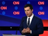 Democratic presidential hopeful Mayor of South Bend, Indiana, Pete Buttigieg delivers his closing statement during the first round of the second Democratic primary debate of the 2020 presidential campaign season hosted by CNN at the Fox Theatre in Detroit, Michigan on July 30, 2019. (Photo by Brendan Smialowski / AFP) …