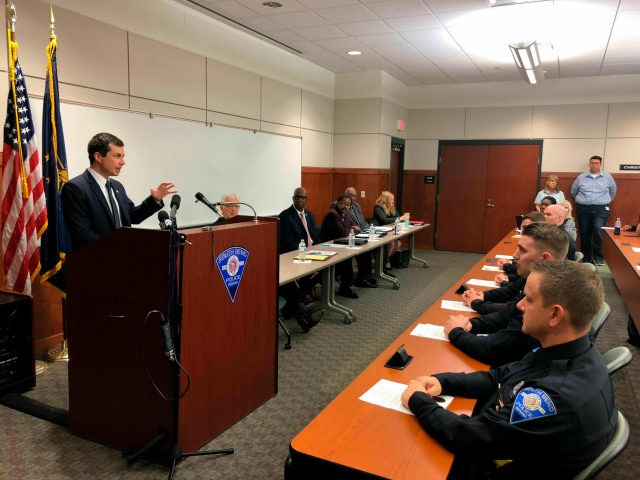 Democratic Presidential candidate and South Bend, Indiana Mayor Pete Buttigieg addresses newly sworn police officers during a ceremony Wednesday, June 19, 2019, at the South Bend Police Department. Buttigieg is telling officers after a fatal police shooting that they must activate their body cameras during any interaction with civilians. (AP …