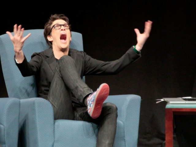 MUNCIE, IN - DECEMBER 02: Rachel Maddow discusses the headlines of the day in Emens Auditorium at Ball State University, Letterman's alma mater, on December 2, 2011 in Muncie, Indiana. (Photo by Ron Hoskins/Getty Images)