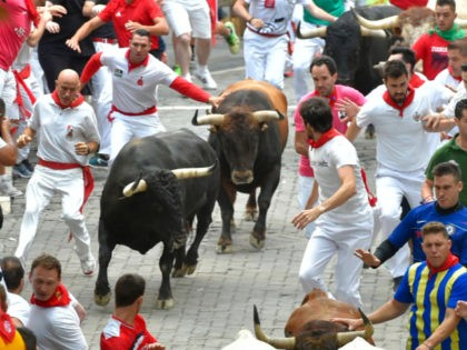 Participants run next to a Cebada Gago fighting bulls on the second bullrun of the San Fermin festival in Pamplona, northern Spain on July 8, 2019. - On each day of the festival six bulls are released at 8:00 a.m. (0600 GMT) to run from their corral through the narrow, …