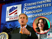 Kamala Harris and George W. Bush on homeownership (Lucas Frazza / Paras Griffin / Getty)