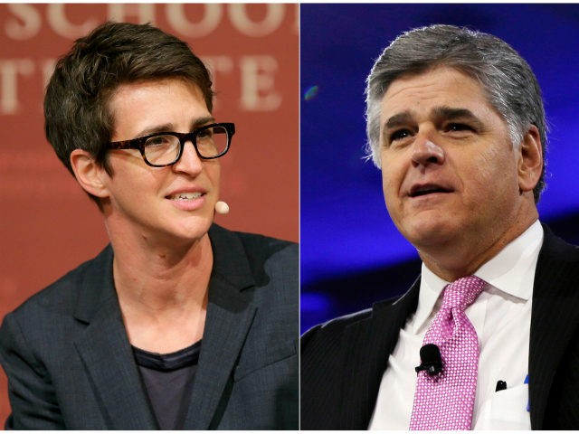 "This combination photo shows MSNBC television anchor Rachel Maddow, host of ""The Rachel Maddow Show,"" moderating a panel at Harvard University, in Cambridge, Mass. on Oct. 16, 2017 , left, and Sean Hannity of Fox News at the Conservative Political Action Conference (CPAC) in National Harbor, Md. on March 4, …"