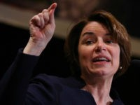 WASHINGTON, DC - MAY 07: Democratic presidential candidate Sen. Amy Klobuchar (D-MN) speaks at the International Association of Machinists and Aerospace Workers annual legislative conference May 7, 2019 in Washington, DC. Klobuchar spoke on workers rights, health care and her plan for mental health care and substance abuse treatment during …