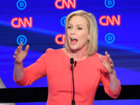 Democratic presidential hopeful US Senator from New York Kirsten Gillibrand speaks during the second round of the second Democratic primary debate of the 2020 presidential campaign season hosted by CNN at the Fox Theatre in Detroit, Michigan on July 31, 2019. (Photo by Jim WATSON / AFP) (Photo credit should …