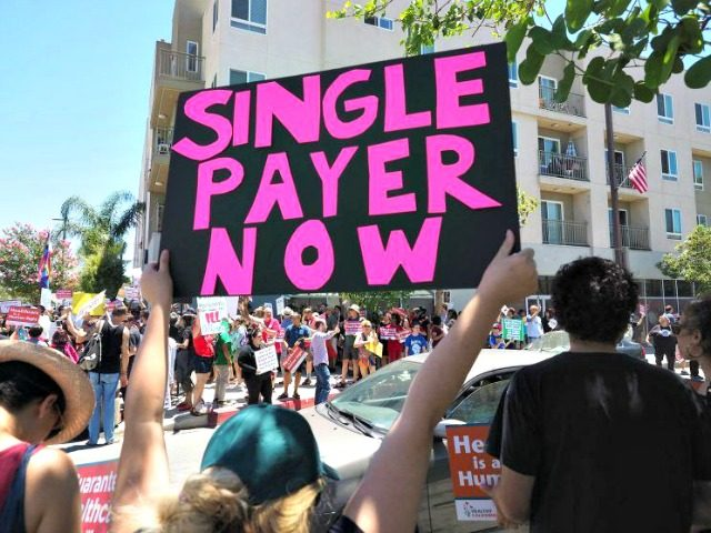 People rally in favor of single-payer health care for all Californians outside the office of California Assembly Speaker Anthony Rendon, June 27, 2017, in South Gate, Calif., as the U.S. Senate prepares to vote on its health care bill. (Photo: Robyn Beck/AFP/Getty Images)