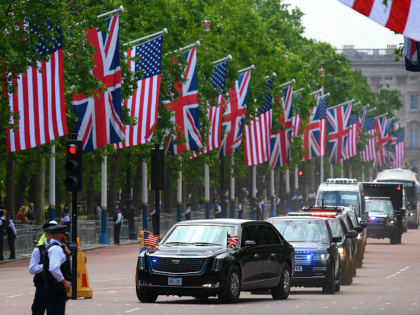 US President Donald Trump and US First Lady Melania Trump travel along the mall in their motorcade after leaving Buckingham Palace to travel to Westminster Abbey in central London on June 3, 2019, on the first day of the US president and First Lady's three-day State Visit to the UK. …