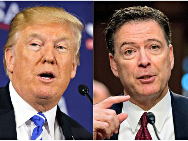 This combination photo shows President Donald Trump speaking during a roundtable discussion on tax policy in White Sulphur Springs, W.Va., on April 5, 2018, left, and former FBI director James Comey speaking during a Senate Intelligence Committee hearing on Capitol Hill in Washington on June 8, 2017. Trump fired off …
