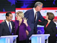 MIAMI, FLORIDA - JUNE 26: (L-R) Former housing secretary Julian Castro, Sen. Elizabeth Warren (D-MA) New York City Mayor Bill De Blasio and Sen. Amy Klobuchar (D-MN) embrace after the first night of the Democratic presidential debate on June 26, 2019 in Miami, Florida. A field of 20 Democratic presidential …