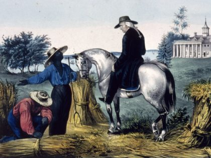 George Washington (1732 - 1799) talks to a slave on his Mount Vernon estate . (Photo by MPI/Getty Images)