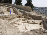 A picture shows the site of archeological excavations in Jerusalem�s Mount Zion, outside the limits of today's Old City, on September 3, 2008. The remains of the city wall that surrounded Jerusalem more than 2,100 years ago, during the Second Temple, can be seen on the top left of the …