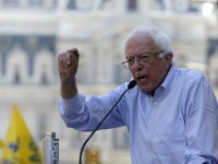 Democratic presidential candidate Bernie Sanders, I-Vt., participates in a rally alongside unions, hospital workers and community members against the closure of Hahnemann University Hospital in PhiladelphiaMonday July 15, 2019. (AP Photo/Jacqueline Larma)